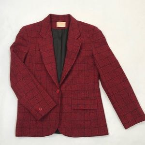 Vintage Pendleton Black & Red Wool Plaid Blazer